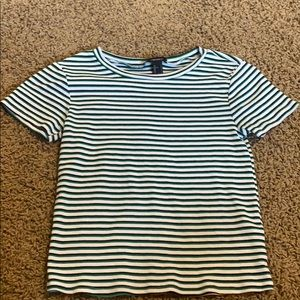 green black and white striped top